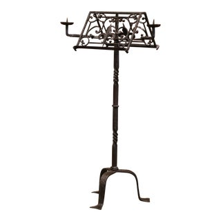 19th Century French Two-Side Forged Iron Music Stand Lectern With Fleur-De-Lys For Sale