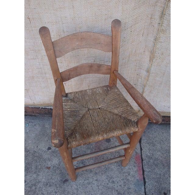 Antique Folk Art Handmade Child's High Chair With Rush Seat - Image 5 ... - Antique Folk Art Handmade Child's High Chair With Rush Seat Chairish