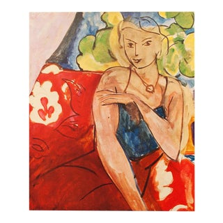 "Henri Matisse Original ""Girl on a Red Background"" Swiss Period Lithograph, C. 1940s For Sale"