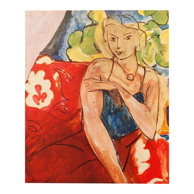 """Henri Matisse Original """"Girl on a Red Background"""" Swiss Period Lithograph, C. 1940s For Sale"""