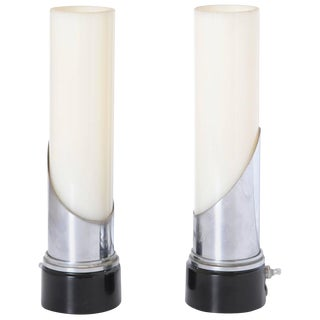 "Gilbert Rohde for Mutual Sunset Attributed Machine Age Art Deco ""Lipstick"" Lamps For Sale"