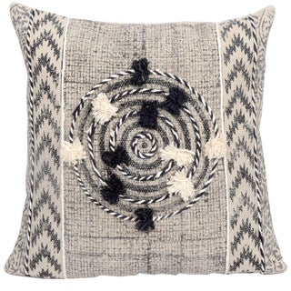 Tribal White and Black Embroidered Stripe and Pom Geometric Cotton Pillow For Sale