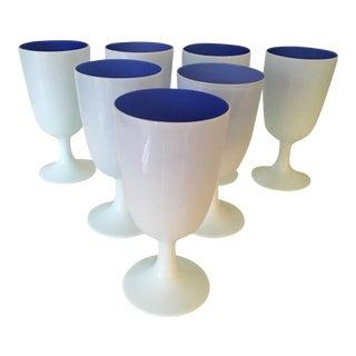 1970s Modern White and Cobalt Blue Italian Cased Glasses - Set of 7