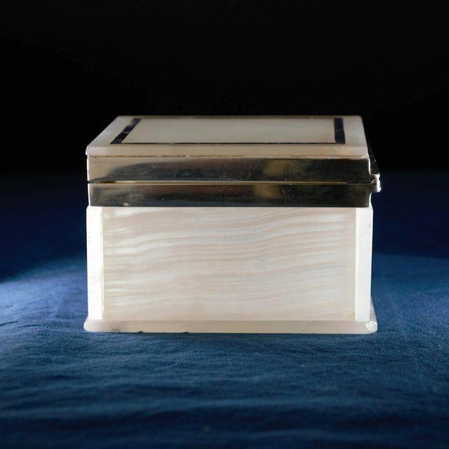 Lapis Inlay Onyx Box For Sale - Image 10 of 13