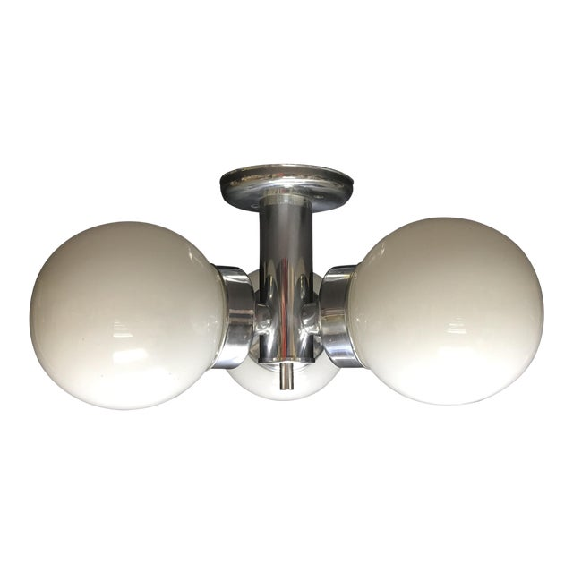 1960s Mid Century Modern Three Globe Chrome Ceiling Light For Sale