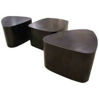 Post Modern Stephane Ducatteu Black Galet Tables - Set of 3 For Sale