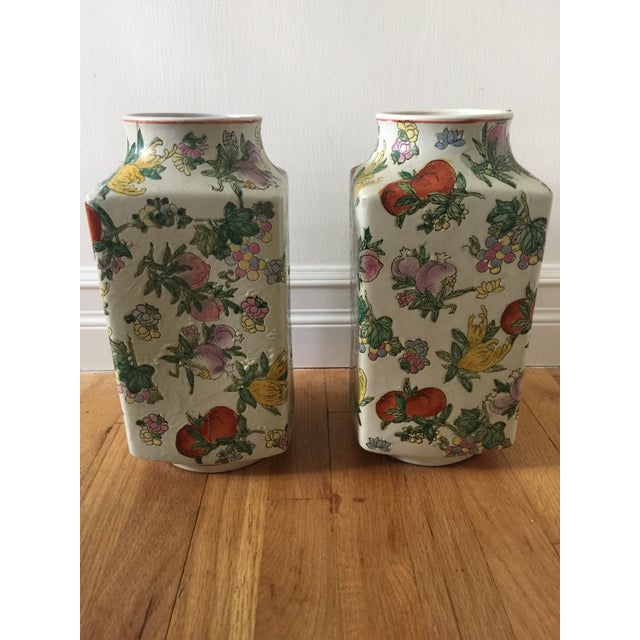 1970's Oriental Exotic Fruit Painted Vases - a Pair For Sale - Image 4 of 13