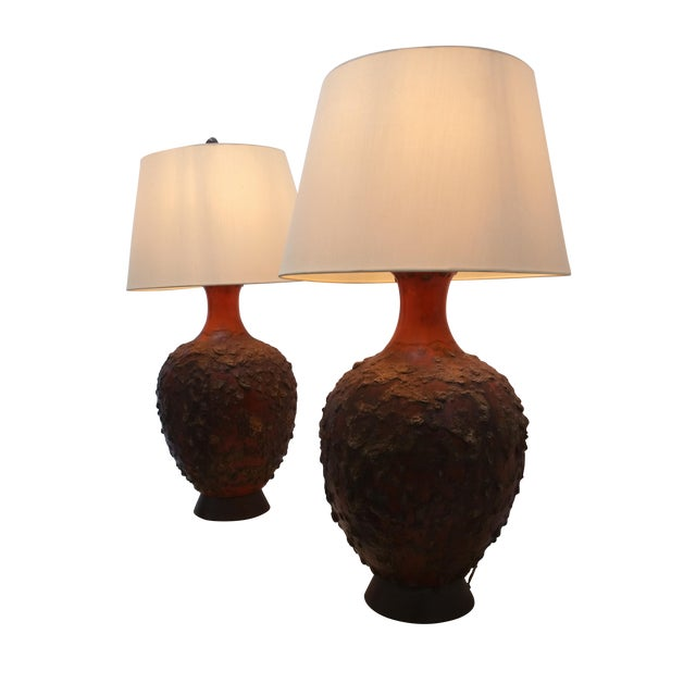 Midcentury Monumental Lava Glaze Lamps - Pair - Image 1 of 4