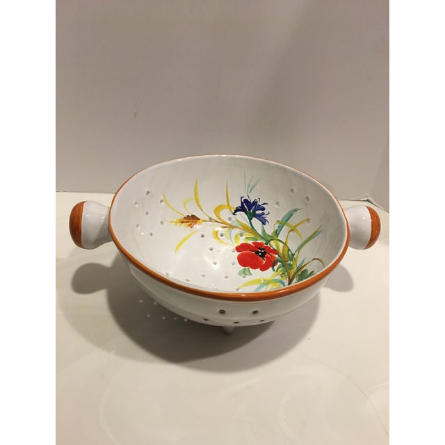 Italian Hand Painted Pasta Bowl & Colander - a Pair For Sale - Image 4 of 9