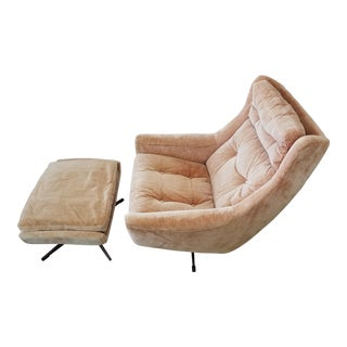 1970's Swedish Overman Tan Velvet Lounge Chair & Ottoman For Sale