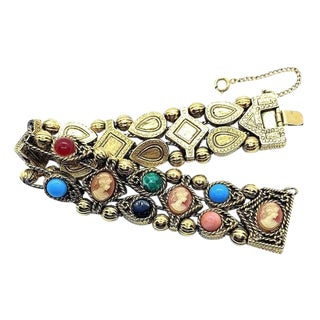 Jeweled Cameo Slide Bracelet For Sale
