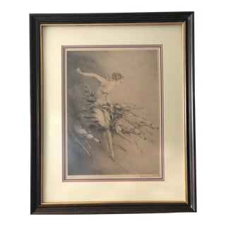 "1928 Louis Icart Original Colored Etching ""Zest"" Woman With Dogs Framed For Sale"