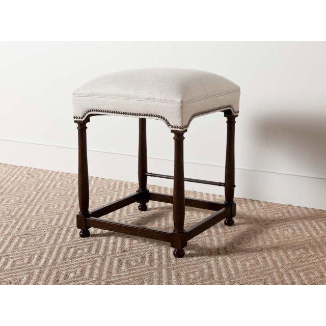 "2010s ""Charles"" Upholstered Wooden Baluster Frame Counter Stool For Sale - Image 5 of 5"