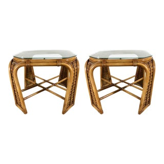 Restored Bamboo End Tables by McGuire - A Pair