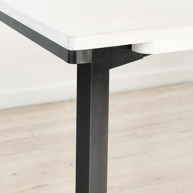Contemporary Blackened Steel and White Washed Maple Bow Tie Table For Sale In New York - Image 6 of 7