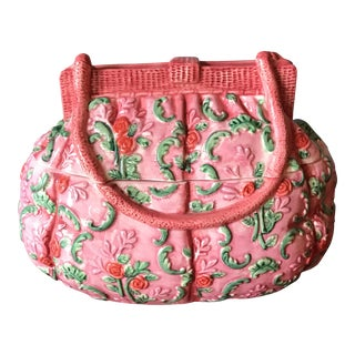Vintage Pink Ceramic Purse Box For Sale