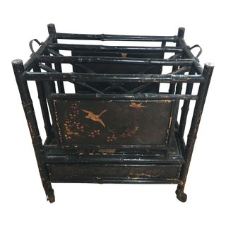 Antique Bamboo Lacquer Canterbury Magazine Rack For Sale