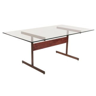 Mid-Century Modern Milo Baughman Bronze and Rosewood I Beam Dining Table For Sale