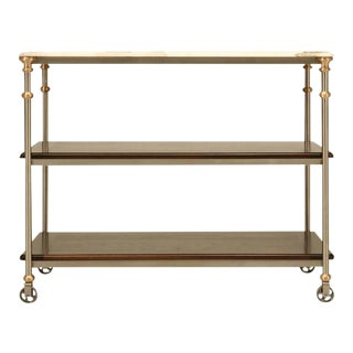 Stainless & Bronze Kitchen Island For Sale