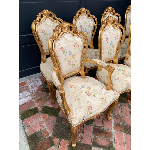 French Antique Gold Leaf Painted Louis XIV Style Chairs - Set of 8 For Sale - Image 3 of 12