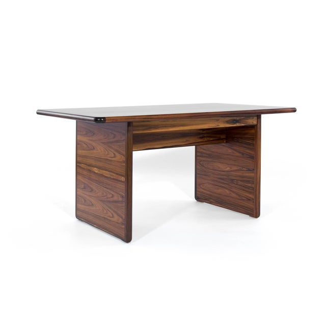 Brass Danish Modern Rosewood Desk For Sale - Image 7 of 10
