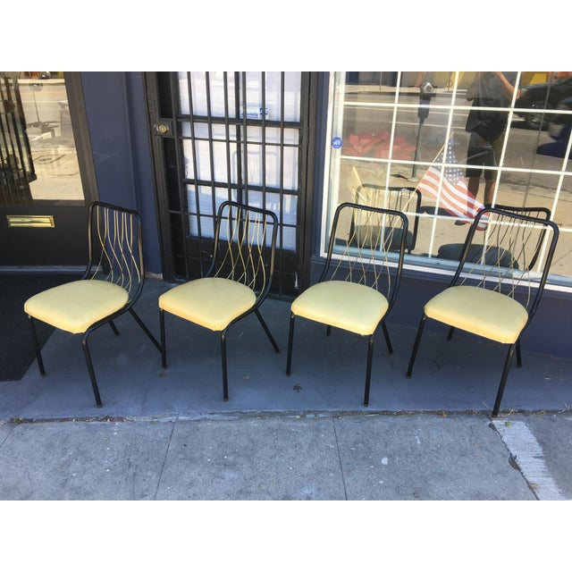 Black Mid-Century Black & Brass Chairs - Set of 4 For Sale - Image 8 of 8