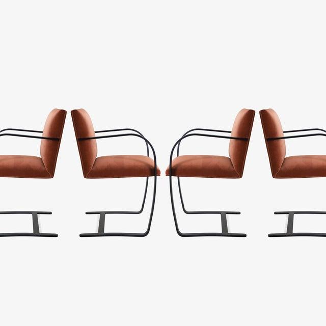 Knoll Brno Flat-Bar Chairs in Rust Velvet, Obsidian Matte Frame For Sale - Image 4 of 11