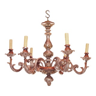 Mid 20th century Italian Wood Chandelier For Sale