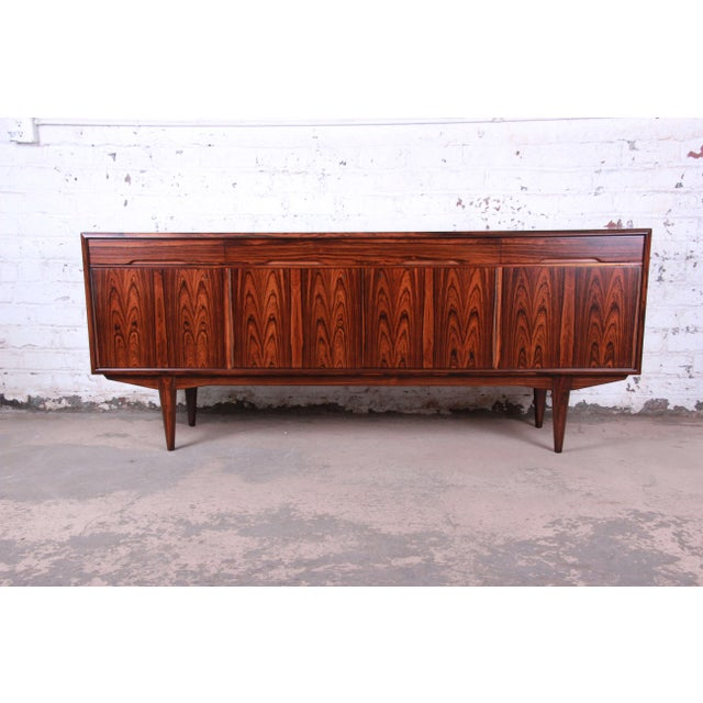 Danish Modern Rosewood Sideboard Credenza, Newly Refinished For Sale - Image 12 of 12