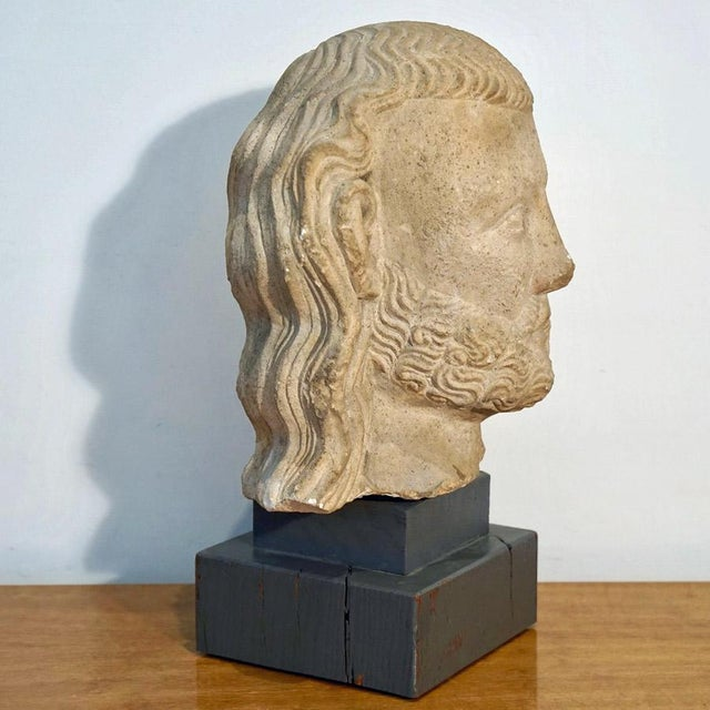 Tan Vintage Medieval Limestone Bust For Sale - Image 8 of 10