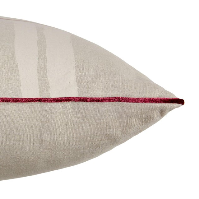 "Brushstroke Plaid 22"" Pillow, Cream - Image 3 of 4"