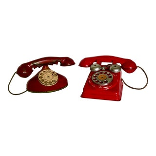 1950s Vintage Antique Red Tin Metal Childs Play Rotary Telephones - a Pair For Sale