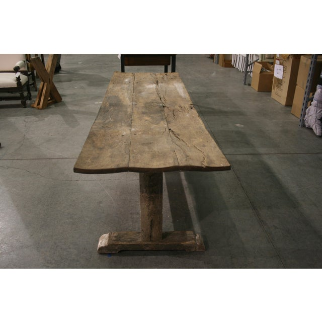 French Country Long Rustic Oak Console or Dining Table For Sale - Image 3 of 9