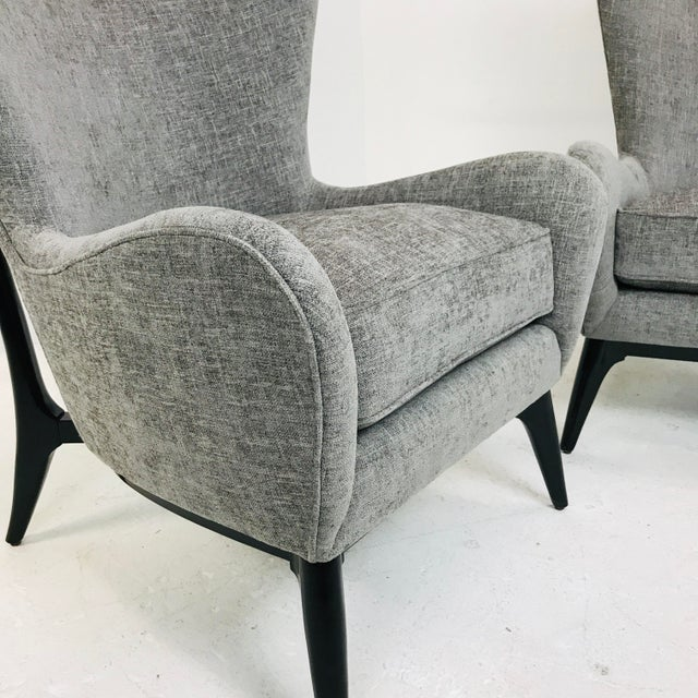 "Mid-Century Modern Caracole ""What's New Pussycat"" Mid-Century Modern Wingback Chairs - a Pair For Sale - Image 3 of 10"