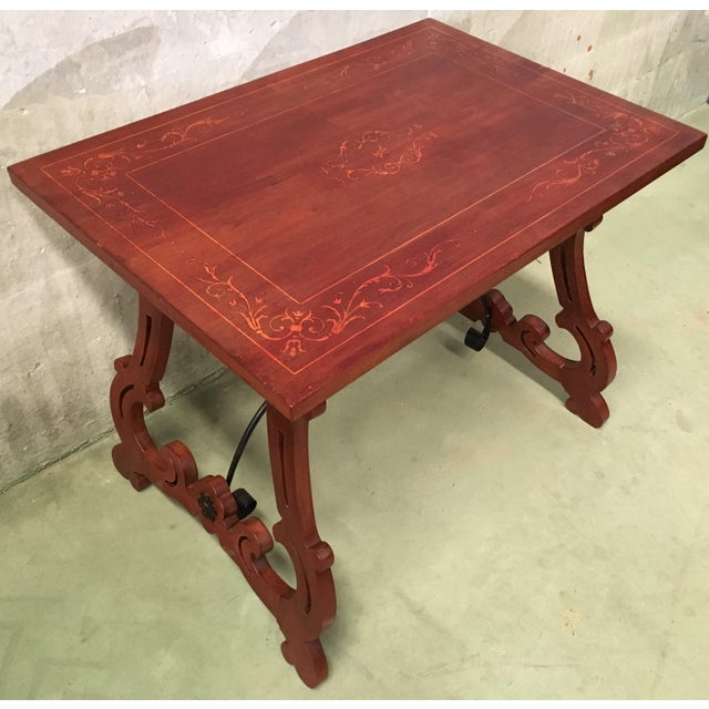 Late 19th Century 19th Century Baroque Spanish Side Table With Marquetry Top & Lyre Legs For Sale - Image 5 of 13