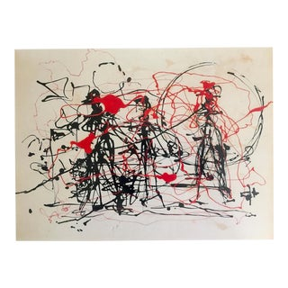 "Jackson Pollock Foundation Abstract Expressionist Collector's Lithograph Print "" Black & Red "" 1948 For Sale"