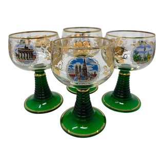 Vintage Beehive Green Stemmed Roemer Wine Glasses - Set of 4 For Sale