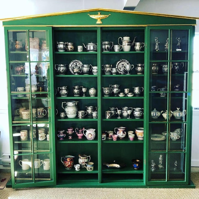 Vintage Neoclassical Style Green Painted Bookcase For Sale - Image 4 of 13