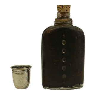 Antique Glass and Leather Flask With Silver Plated Cup C. 1930-1940s