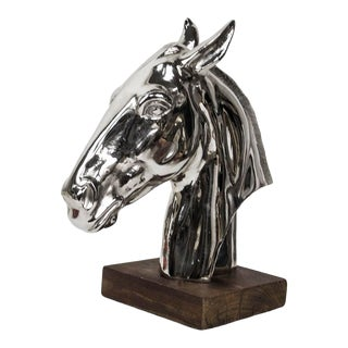 Contemporary Polished Nickel Horse Head Sculpture - Arteriors Design For Sale