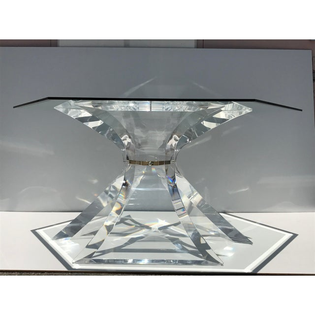 Lion in Frost Lucite Tripod Base Dining Table - Image 3 of 10