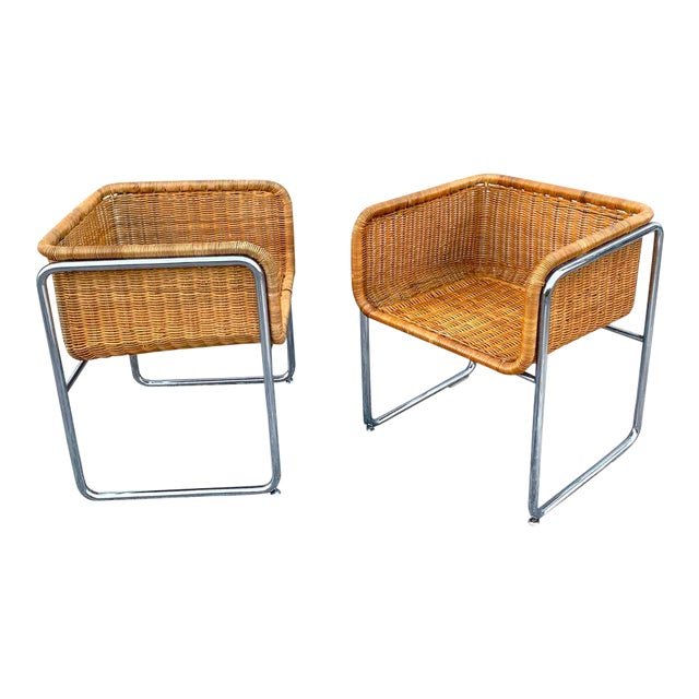 1970s Chrome and Rattan Cube Club Chairs - a Pair For Sale