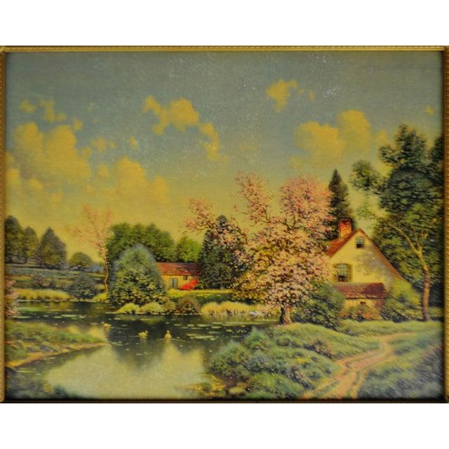 Traditional Vintage Gilt Framed Landscape Print on Textured Board For Sale - Image 3 of 13