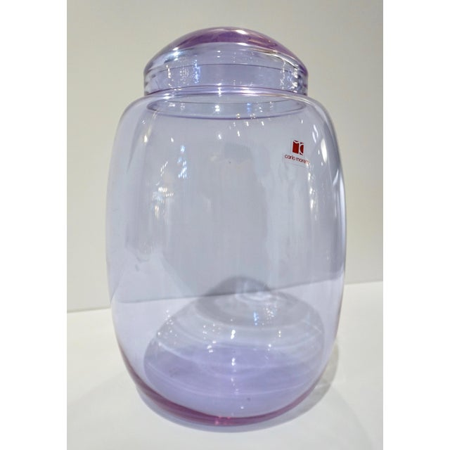 Vintage Carlo Moretti 1980s Alexandrite Purple Blue Murano Crystal Glass Urn For Sale - Image 10 of 11