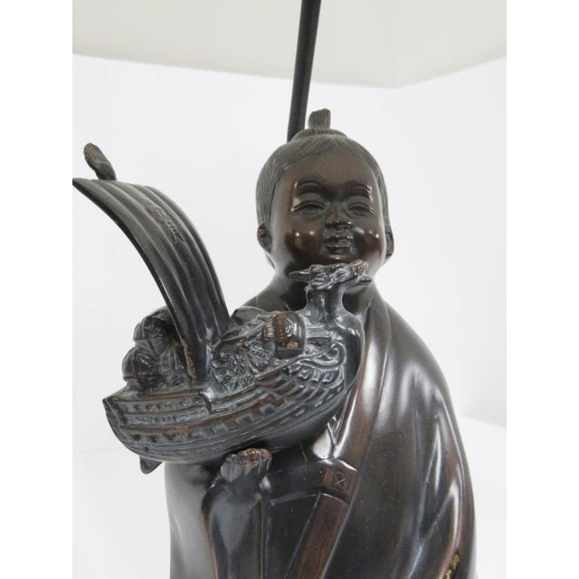 Late 20th Century Frederick Cooper Bronze Figural Asian Lamp For Sale - Image 5 of 6