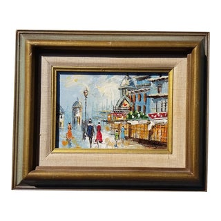 """Old Town Cityscape"" Original Oil Painting Signed and Framed For Sale"