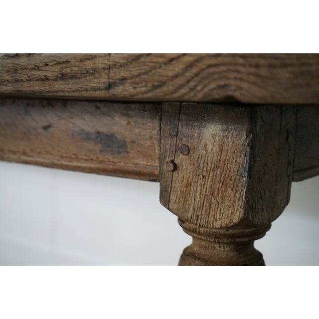 Brown Antique Oak Dining Table For Sale - Image 8 of 10