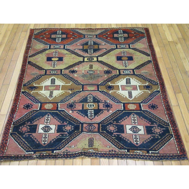 "Textile Vintage Handmade Wool Turkish Anatolian Rug-4'3'x4'10"" For Sale - Image 7 of 10"