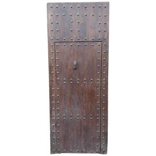 1940s Vintage Old Brown Moroccan Wooden Door For Sale