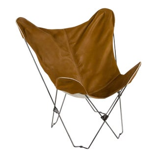 Modern 4040 Locust Tan Leather and Iron Butterfly Chair For Sale